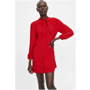 NWT Zara Size XL Red Mini Bow Buttons Dress